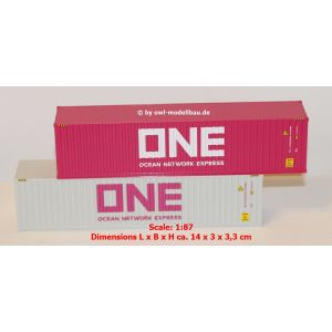 Herpa Zubehör 076449-005, Container-Set 2x40 ft. ONE/ONE, 1:87, 4013150348041