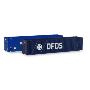 Herpa Zubehör 076937, Container-Set 2x 45 ft. High Cube Container, P&O Ferrymaster/DFDS, 1:87, 4013150076937
