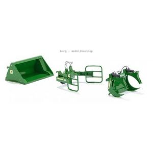 077381 Wiking, Die-Cast Modell, 1:32, Frontlader Werkzeuge - Set A John Deere grün, 4006190773812