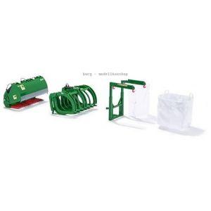 077382 Wiking, Die-Cast Modell, 1:32, Frontlader Werkzeuge - Set John Deere grün, 4006190773829