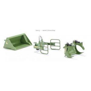 077383 Wiking Die-Cast Modell, Frontlader Werkzeuge - Set A Bressel+Lade grün, 4006190773836