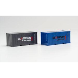 Herpa Zubehör 940207, SET 2 × 20 FT. Container, BLOEDORN, 1:87, 4013150940207