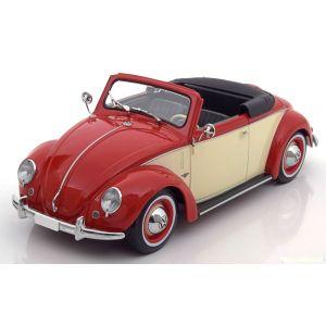 KK-Scale 180111, VW Cabrio 1200 Hebmüller, 1949, rot/creme, 1:18