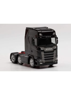 Herpa 307543-002, Scania CS 20 HD 6x2 Zugmaschine, schwarz, Maßstab 1:87, 4013150349925