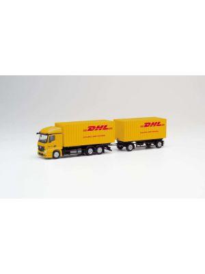 Herpa 311809, Mercedes-Benz Actros 18 Streamspace 2.3 Cargoboxen-Hängerzug, DHL, 1:87, 4013150311809