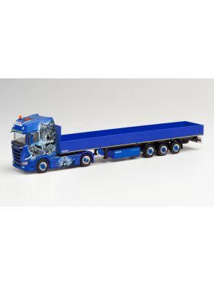 Herpa 312745, Scania CS 20 HD Pritschen-Sattelzug, Waßmer Transporte, 1:87, 4013150312745